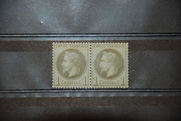 Y&T 25 En Paire - Napoléon III Lauré - Empire Français - 1863-1870 Napoleon III Gelauwerd