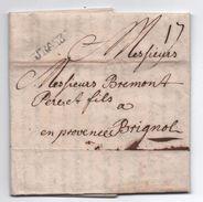 1738 - LETTRE De STRASBOURG (BAS RHIN) Avec MP LENAIN N° 6 Pour BRIGNOLES (VAR) - 1701-1800: Precursors XVIII
