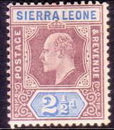 SIERRA LEONE 1903 SG #77 2½d MLH Wmk Crown CA - Sierra Leone (...-1960)