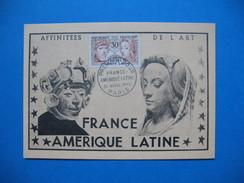 Carte-Maximum    N° 1060 Amitié France-Amérique  Sculpture Péruvienne 1956 Cachet France Amérique Latine - 1950-59
