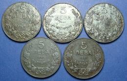 BULGARIA - GERMANY LOT OF 5 X 5 LEVA 1941 IRON BETTER QUALITY - Bulgaria