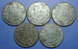 BULGARIA - GERMANY LOT OF 5 X 2 LEVA 1943 IRON BETTER QUALITY - Bulgaria