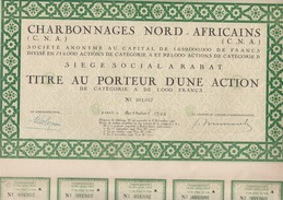 TITRE AU PORTEUR CATEGORIE A  DE 1000 FRS - CHARBONNAGES NORD -AFRICAINS - ANNEE 1948 - Mineral