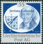 "LALANDE, J. - Liechtenstein 2014, MNH ** - Mathematician, Astronomy Mathematics - ""die Marke"" - Astronomy"