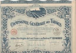 ACTION DE CENT FRANCS - COMPAGNIE GENERALE DES TABACS - ANNEE 1927 - Actions & Titres