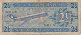 BILLETE DE NEDERLANDSE ANTILLEN DE 2,50 GULDEN  DEL AÑO 1970  (BANKNOTE) AVION-PLANE - Antillas Neerlandesas (...-1986)
