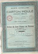 ACTION DE CENT FRANCS - SOCIETE MARSEILLAISE DE CARTON MOULE - ANNEE 1929 - Actions & Titres