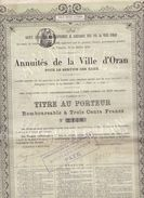 (Tapp 1)  Actions & Titres Ville D Oran 300 Francs 1878 - Azioni & Titoli