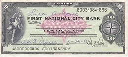 BILLETE DE ESTADOS UNIDOS DE FIRST NATIONAL CITY BANK DE 10 DOLLARS DEL AÑO 1976  (TALON) - Estados Unidos