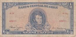 BILLETE DE CHILE DE 1/2 ESCUDO DEL AÑO 1962 (BANK NOTE) - Chile