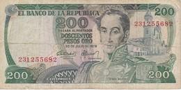 BILLETE DE COLOMBIA DE 200 PESOS DE ORO DEL AÑO 1978  (BANK NOTE) - Colombie