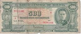 BILLETE DE BOLIVIA DE 500 BOLIVIANOS  DEL AÑO 1945  (BANKNOTE-BANK NOTE) - Bolivia