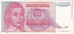 BILLETE DE YUGOSLAVIA DE 1000000000 DINARA  DEL AÑO 1993  (BANKNOTE) - Yugoslavia