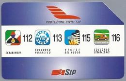 IT.- TELECOM ITALIA. CARTA TELEFONICA. LIRE 10.000. PROTEZIONE CIVILE SIP. - 112 - 113 - 115 - 116. 2 Scans - Telefoonkaarten