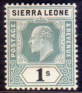 SIERRA LEONE 1905 SG #95 1sh Green And Black MLH Wmk Mult.Crown CA - Sierra Leone (...-1960)