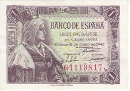 BILLETE DE ESPAÑA DE 1 PTA DEL 15/06/1945 ISABEL LA CATÓLICA SERIE G EN CALIDAD MBC (VF) (BANK NOTE) - [ 3] 1936-1975 : Régence De Franco