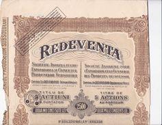 """(Tapp 1)  Actions & Titres """"Redeventa"""" 2500 Lei 1925 - Acciones & Títulos"""