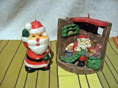 2 Jolies Bougies Decoratives Noel - Pere Noel - Décoration De Noël