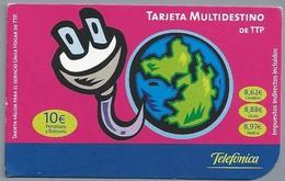 ES.- Telefonica De Espana. Tarjeta Multidestino De TTP. Telefonica. 2 Scans - Spanje