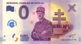 52 COLOMBEY 2 ÉGLISES DE GAULLE BILLET ZERO EURO SOUVENIR 2018 AVEC TAMPON BANKNOTE BANK NOTE PAPER MONNAIE EURO SCHEIN - EURO