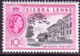 SIERRA LEONE 1956 SG #221 10sh MNH Small Fault On Back In The Centre - Sierra Leone (...-1960)