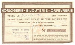 (Cl 1)   Publicités (ticket De Garanti 1982) - Werbung