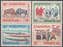 Laos 1965 Gesellschaft Brauchtum Volksbräuche Traditionen Stierkampf Tikhy-Spiel Pirogen, Mi. 174-7 ** - Laos