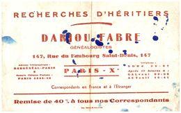 R R H/ Buvard Recherches D'Héritiers Darjou   (N= 1) - R