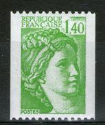 N° 2157a**_N° Rouge Verso_vert Pâle_papier Neutre - 1977-81 Sabine Of Gandon