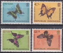 Indonesien Indonesia 1963 Tiere Fauna Animals Schmetterlinge Butterflies Insekten Insects, Mi. 421-4 ** - Indonesien