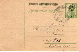 Yugoslavia 1945 OVERPRINT Post Card  Rom SVRLJIG Vilage R - Ohne Zuordnung
