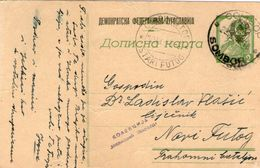 Yugoslavia 1945 OVERPRINT Post Card Sombor To Stari Futog - Ohne Zuordnung