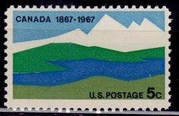 United States, 1967, Canada Centenary - Landscape, 5c, Sc#1324, MNH - Unused Stamps