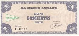 RARO BILLETE DE EL CORTE INGLES DE VALE POR 200 PESETAS CON NÚMERO DE CONTROL Y FIRMA - [ 3] 1936-1975 : Regency Of Franco