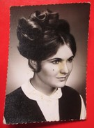 W5-Vintage Photo Snapshot-Cute Girl With Hair Bun And Beauty Spot On Cheek - Anonymous Persons