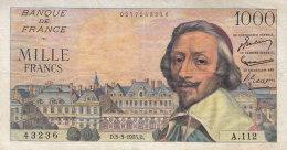 Billet 1000 F Richelieu Du 3-3-1955 FAY 42.11 Alph. A.112 - 1871-1952 Circulated During XXth