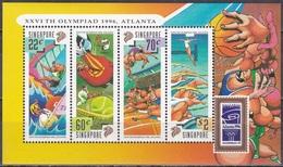 Singapur Singapore 1996 Sport Olympia Olympische Spiele Atlanta Segeln Fußball Tennis Schwimmen, Bl. 51 ** - Singapur (1959-...)