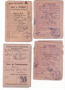Lot De 4 Cartes De Rationnement Pour Vêtements Et D 'articles Textiles Et Alimentation Avec Coupons - Documenti Storici