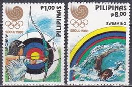 Philippinen Philippines 1988 Sport Olympia Olympische Spiele Seoul Bogenschießen Schwimmen, Aus Mi. 1884-9 ** - Philippinen