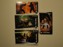 4 Remote Phonecards From Indonesia - Star Wars - Indonesia