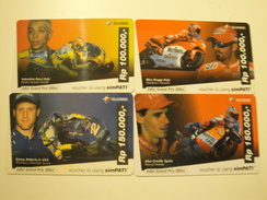 4 Remote Phonecards From Indonesia - Motorbike Racing - Indonesia