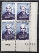 MONACO 1958 - BLOC DE 4 TP  N° 493 - COIN DE FEUILLE / DATE / NEUFS ** - Monaco