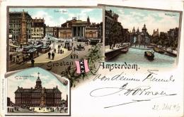 CPA Groeten Uit AMSTERDAM Litho NETHERLANDS (603836) - Amsterdam