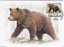 Belarus 2017 Maximum Card, Fauna Brown Bear - Belarus