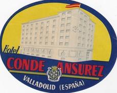 SPAIN ESPAÑA   -  HOTEL LUGAGGE  LABEL - HOTEL CONDE ANSUREZ - VALLADOLID - Etiquettes D'hotels