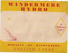 ENGLAND   -  HOTEL LUGAGGE  LABEL -  WINDERMERE HYDRO - ENGLISH LAKES - Hotel Labels