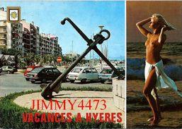 CPM -  JEUNE FEMME AUX SEINS NUS - En 1991  HYERES LES PALMIERS 83 Var  - Scans Recto-Verso - Pin-Ups
