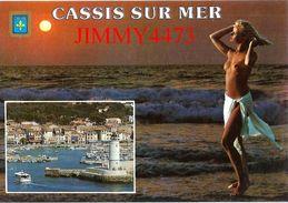 CPM -  JEUNE FEMME AUX SEINS NUS - En 1985 CASSIS SUR MER 13 Bouches Du Rhône  - Scans Recto-Verso - Pin-Ups