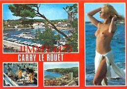 CPM -  JEUNE FEMME AUX SEINS NUS -  CARRY LE ROUET 13 Bouches Du Rhône  - Scans Recto-Verso - Pin-Ups