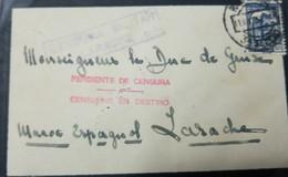 O) 1937 MOROCCO - SPANISH CIVIL WAR, 1E75 BLUE-YVERT 584, WITH INSTRUCTIONAL PENDIENTE DE CENSURA-CENSURA EN DESTINO IN - Morocco (1956-...)